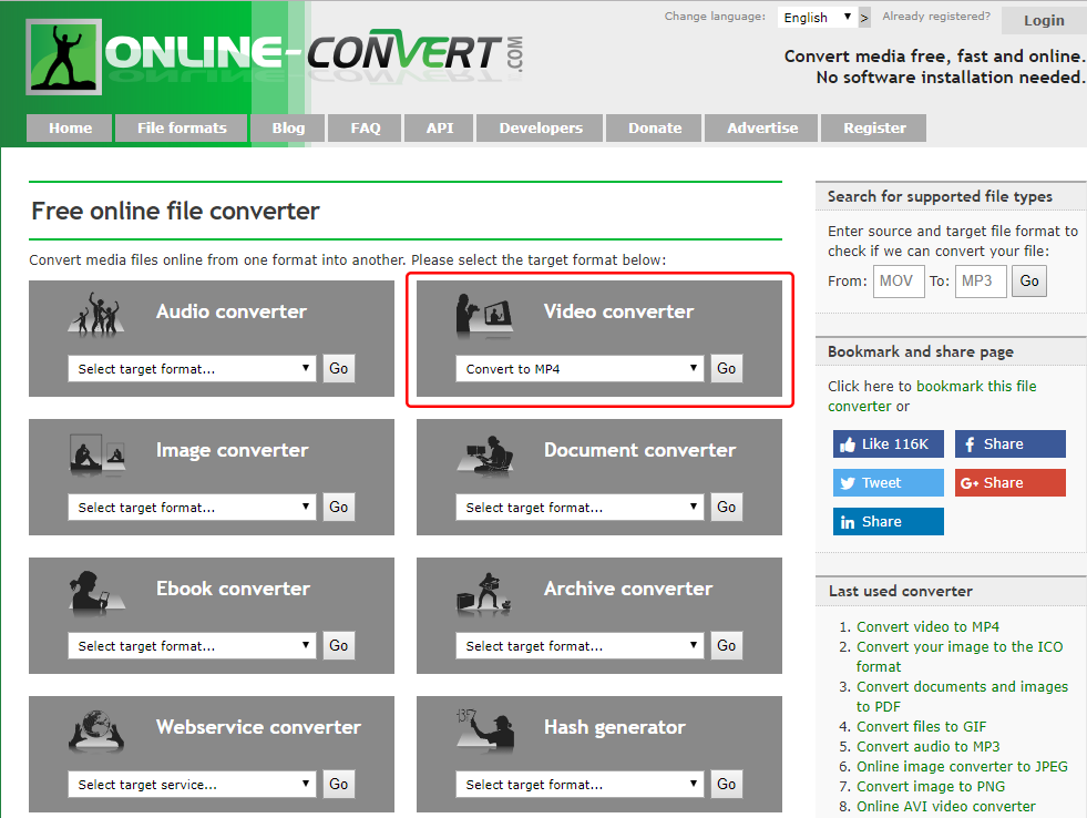 Online webservice converterで動画をMP4に変換