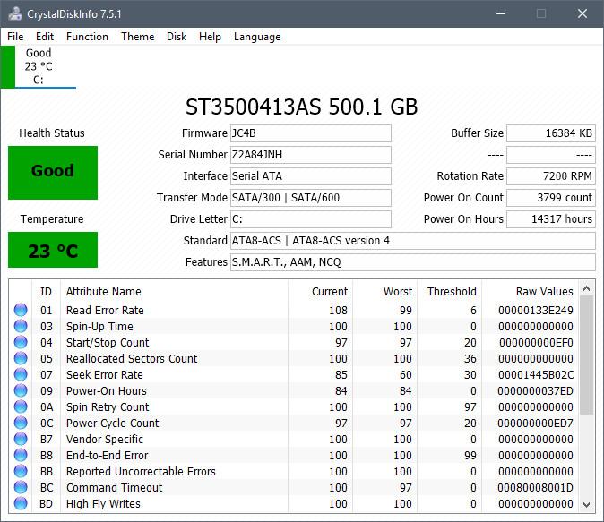CrystalDiskInfoというソフトでSSDハードディスクの寿命や使用状況を確認