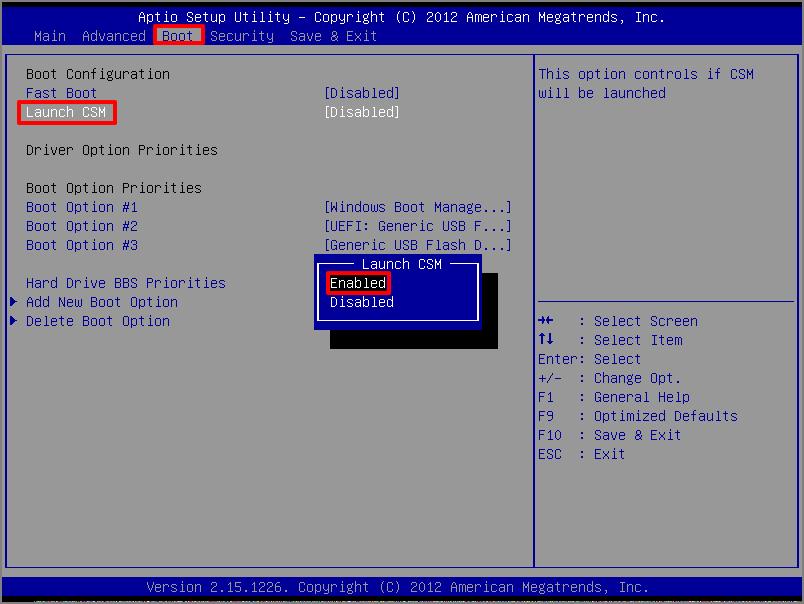 BIOSのLaunch CSMをEnableに設定