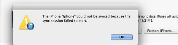 iPhoneは同期化できませんでした