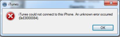 iTunesエラー0xe8000084